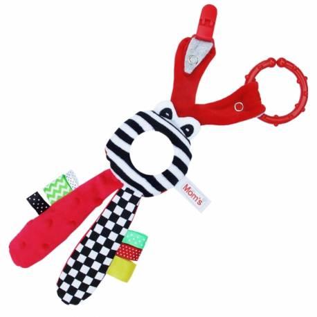 Hencz Toys Edukačná hračka s hrkálkou - Zajačik - zrkadielko - červené