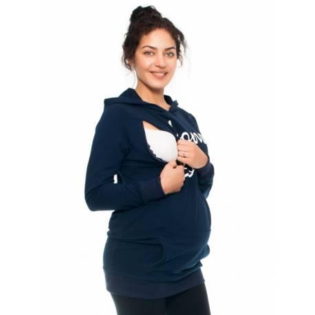 Be MaaMaa Tehotenské a dojčiace triko/mikina Mom Boss, dlhý rukáv, granat, veľ. M