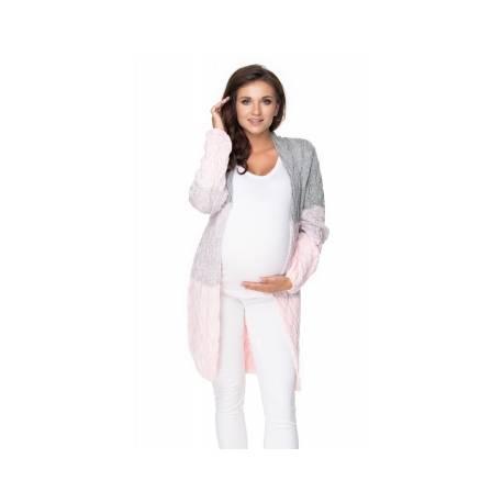 Be Maamaa Tehotenský kardigan / sveter - sivý / růžová, vrkočový vzor
