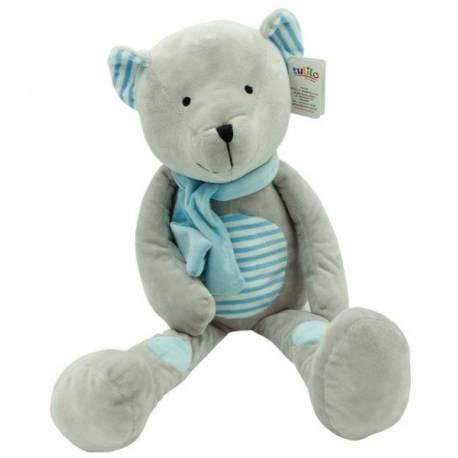 Plyšová hračka túlil Medvedík Erik, 33 cm - modrý s prúžkami