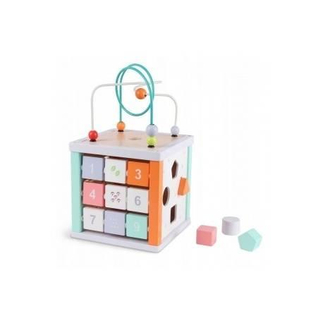 Eco toys Edukačná drevená kocka s labyrintom 5v1