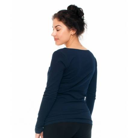 Be MaaMaa Tehotenské a dojčiace triko - pierko, dlhý rukáv, granátové, veľ. M