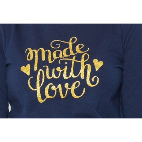 Be MaaMaa Tehotenské tričko dlhý rukáv In Love - tm. modrá - L