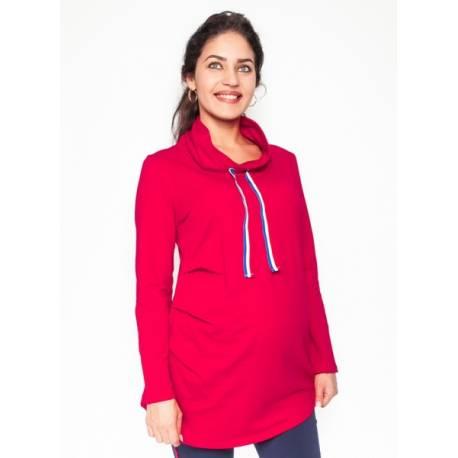 Be MaaMaa Tehotenské tričko / mikina so stojačikom Nova - červená, veľ. XL