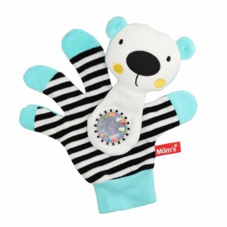 Hencz Toys Edukačná hračka maňuška s hrkálkou - Medvedík - zrkadielko -ružové