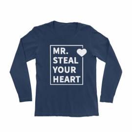 KIDSBEE Chlapčenské bavlnené tričko MR. Steal your heart - granátové, veľ. 110