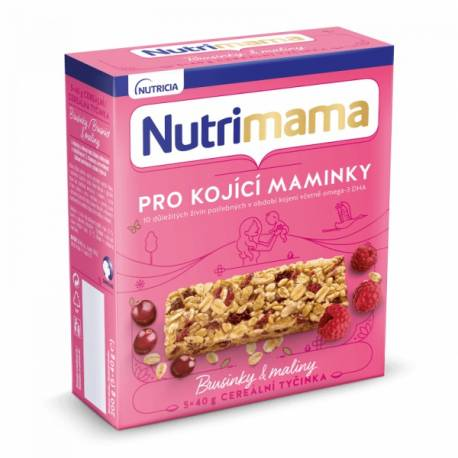 Tyčinky cereálne NUTRILON NUTRIMAMA Profutura Brusnice a maliny 5x40g