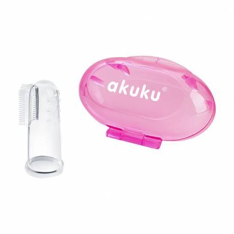 První zubní kartáček s pouzdrem Akuku růžový