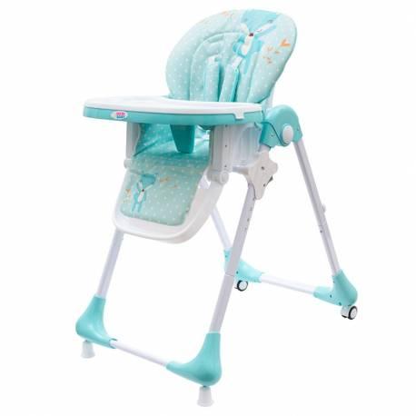 Jídelní židlička NEW BABY Minty Fox - ekokůže a vložka pro miminka