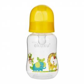 Láhev s obrázkem Akuku 125 ml žirafa žlutá