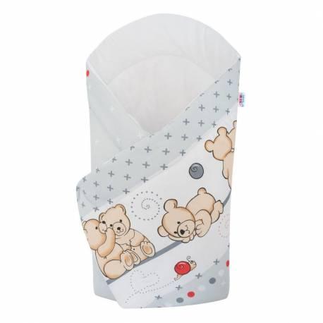 Dětská zavinovačka New Baby světle šedá s medvídkem