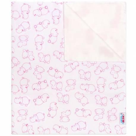 Nepromokavá flanelová podložka New Baby hrošík bílo-růžový