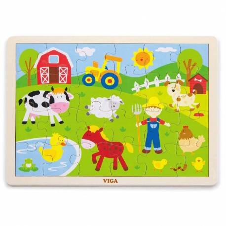Dětské dřevěné puzzle Viga Farma