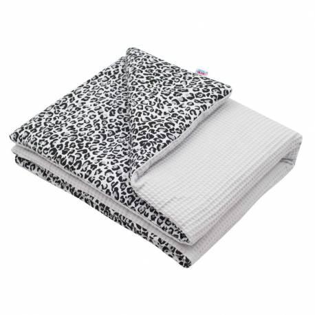 Dětská deka s výplní New Baby Vafle šedá leopard 80x102 cm