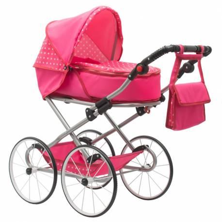 Dětský Retro kočárek pro panenky 2v1 New Baby Anetka růžový s puntíky