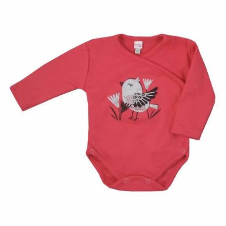 Kojenecké bavlněné body s bočním zapínáním Koala Birdy tmavě růžové