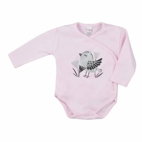Kojenecké bavlněné body s bočním zapínáním Koala Birdy růžové
