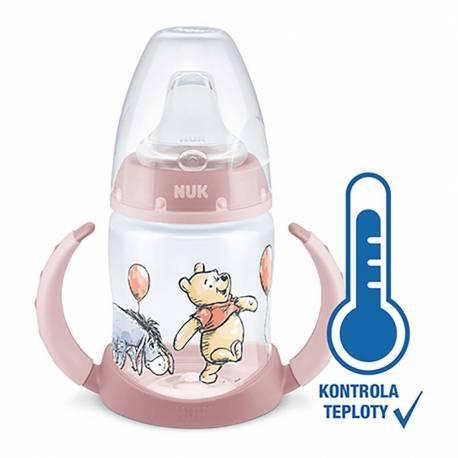 Kojenecká láhev na učení NUK Medvídek Pú s kontrolou teploty 150 ml růžová