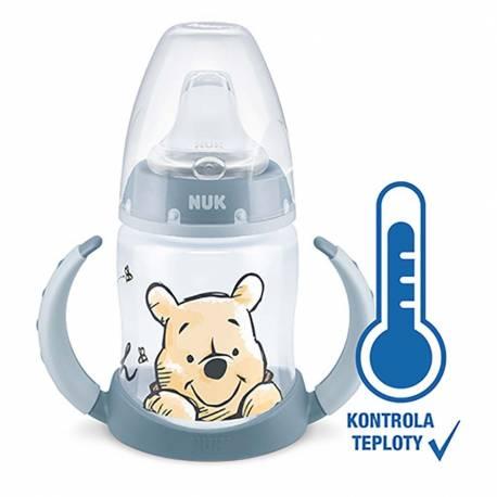 Kojenecká láhev na učení NUK Medvídek Pú s kontrolou teploty 150 ml modrá