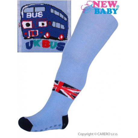 Bavlněné punčocháčky New Baby s ABS modré bus 7dc43f55c0