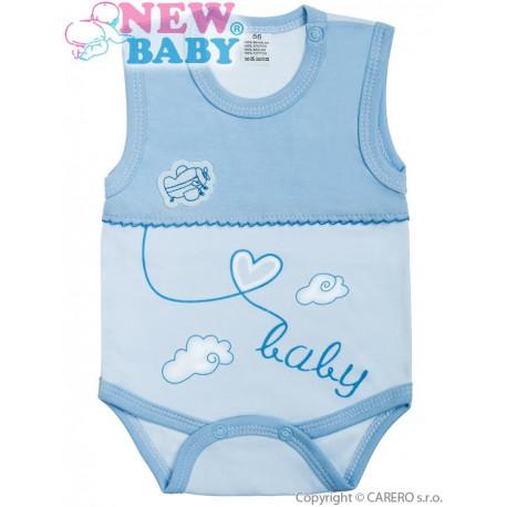 Kojenecké body bez rukávů New Baby Clouds modré